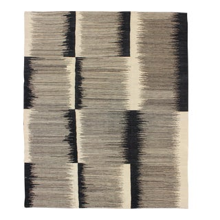 Modern Kilim Rug With Black, Ivory and Gray Checkerboard and Block Pattern For Sale