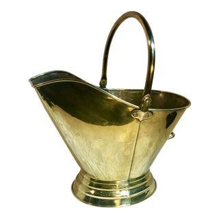 Vintage Mid Century Brass Fireplace Scuttle Bucket For Sale