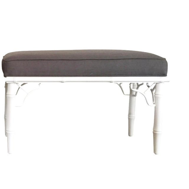Vintage Faux Bamboo Upholstered Bench - Image 1 of 9