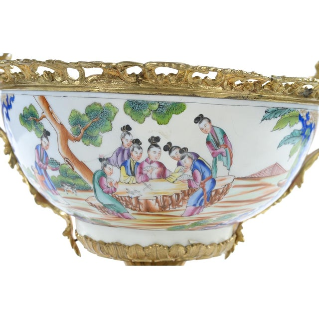 Ceramic French Chinoiserie Gilt Bronze Mounted Bowl For Sale - Image 7 of 9