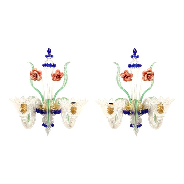 Italian Murano Colored Glass Wall Sconces - a Pair For Sale