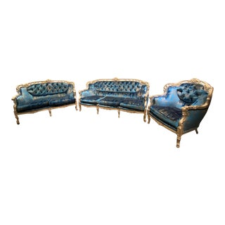 Vintage Transitional Living Room Seating - Set of 3 For Sale