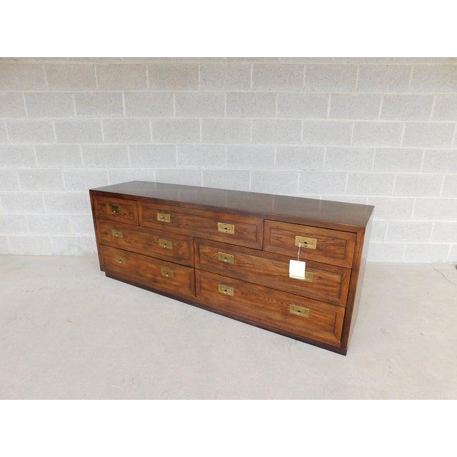 Henredon Campaign Style 7 Drawer Dresser 9101-03 For Sale - Image 13 of 13