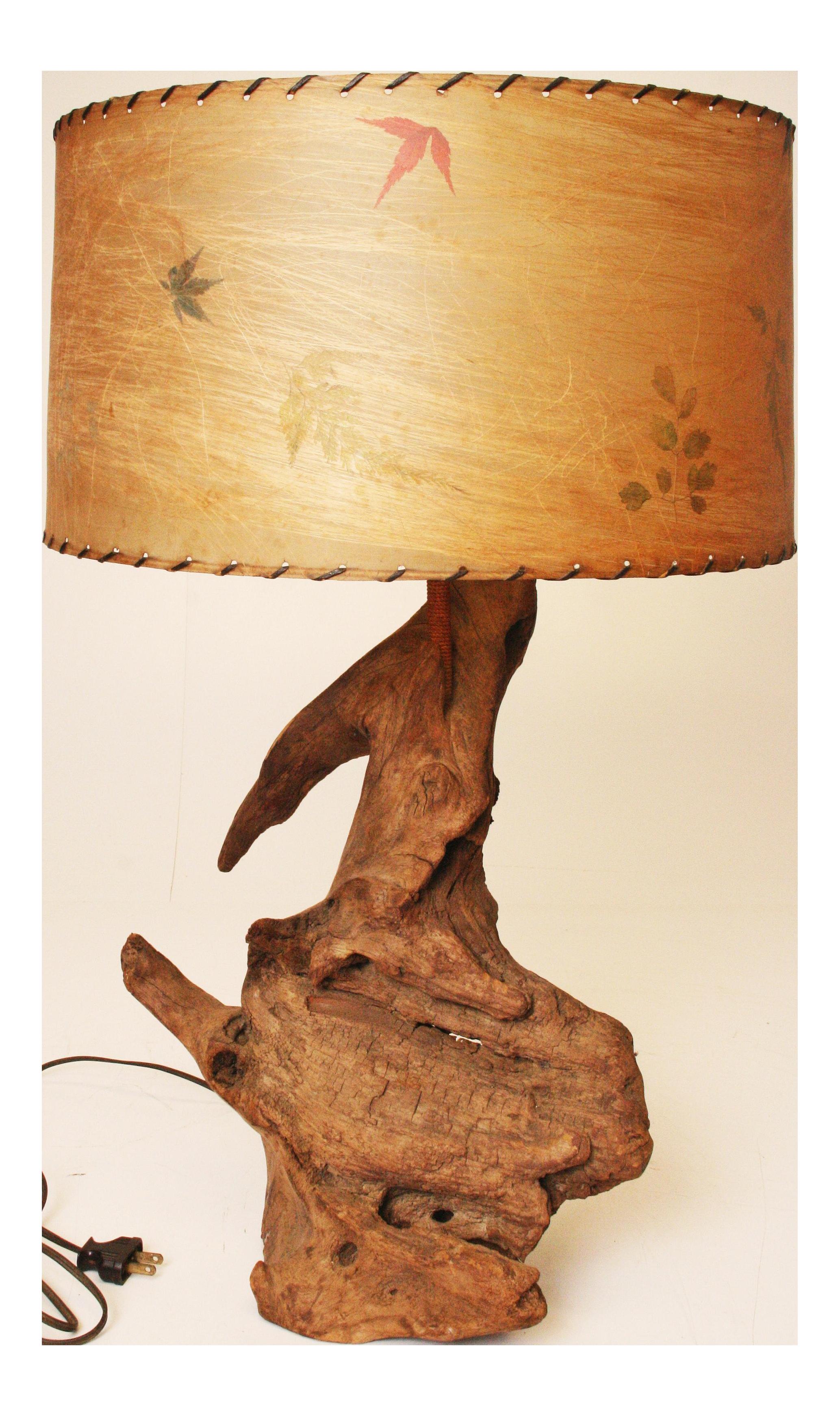 Mid Century Modern Driftwood Lamp With Spun Fiberglass Shade