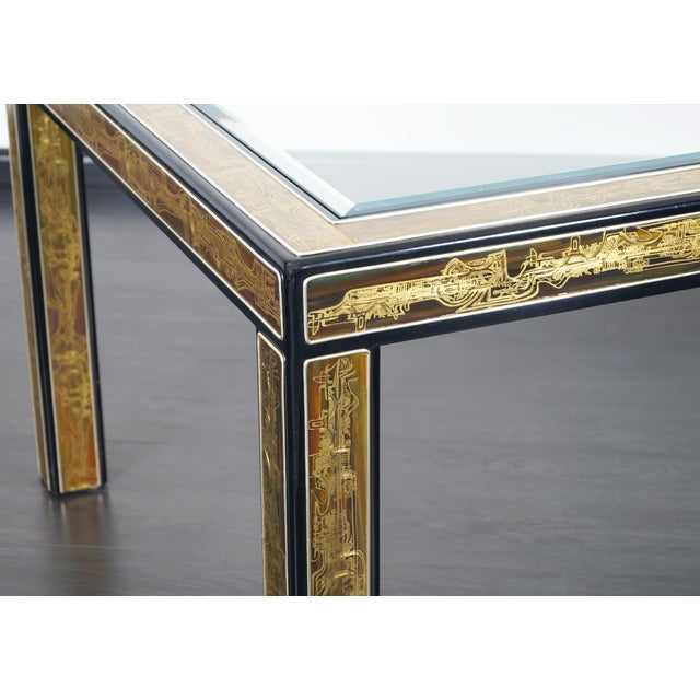 Vintage Etched Brass Dining Table by Mastercraft For Sale In Los Angeles - Image 6 of 9