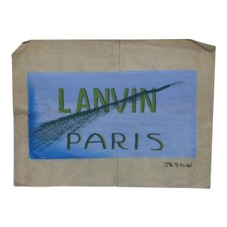 """Early 20th Century Antique Or. Dyson """"Lanvin-Paris"""" Original Painting on Parchment Paper For Sale"""