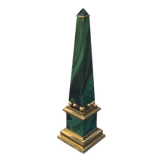 Paul Hanson Faux Malachite and Brass Obelisk For Sale