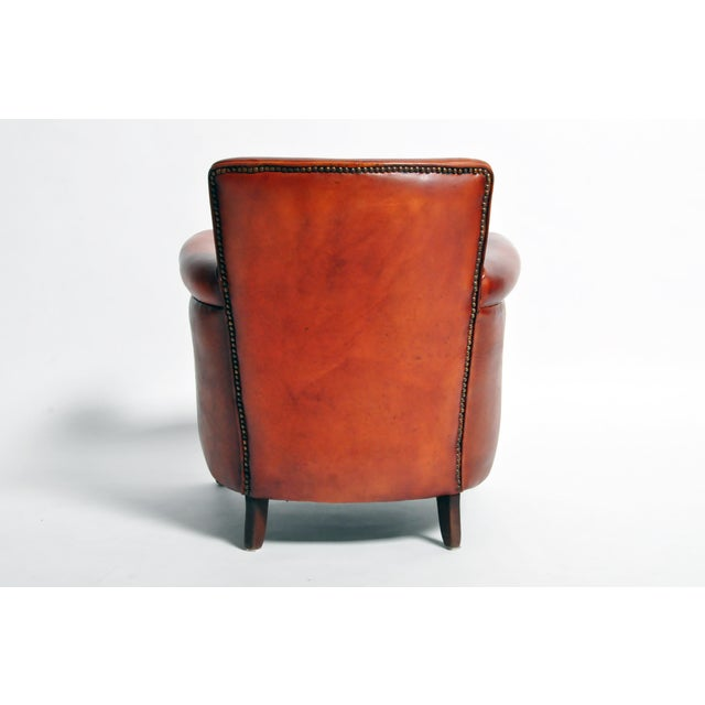 Brown French Leather Armchairs - a Pair For Sale - Image 8 of 13