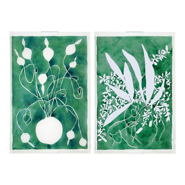 Celadon Alium and Orchard by Kate Roebuck Tray, Set of 2 For Sale