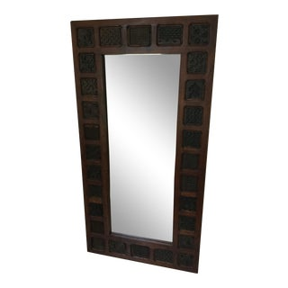 Reclaimed Wood Block Fabric Stamped Frame Glass Mirror