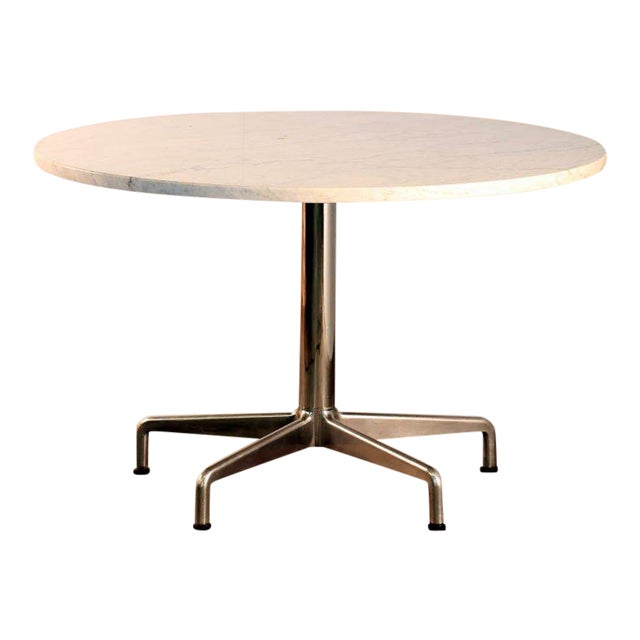 Segmented Base and Marble-Top Round Dining Table by Eames for Knoll For Sale