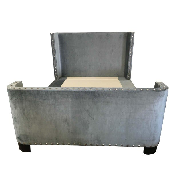 Textile Queen-Size Grey Velvet Bed Frame For Sale - Image 7 of 7