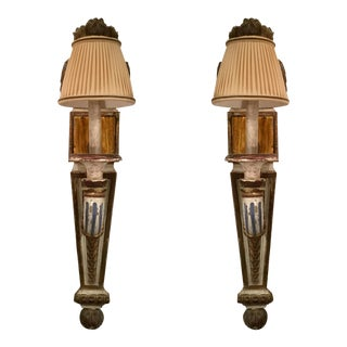 19th Century Painted French Wall Sconces - a Pair For Sale