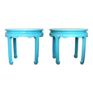 Chinoiserie Century Pagoda Ming Side Tables Round - a Pair For Sale