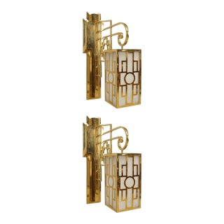 1940s French Latticed Brass Lantern Sconces - a Pair For Sale