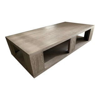 Restoration Hardware Hayes Rectangular Coffee Table in Grey Oak For Sale