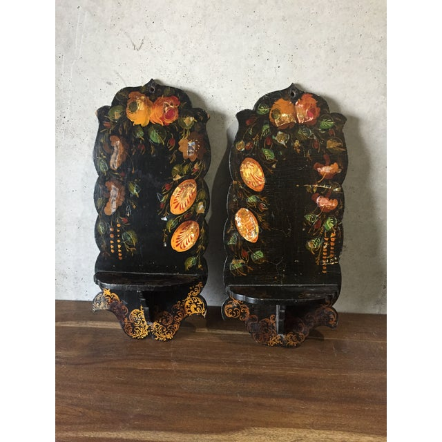 Pair Of Hand Painted Floral Sconces - Image 8 of 8