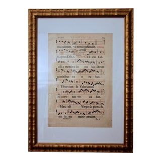 Gilt Framed Gregorian Chant Sheet Music For Sale