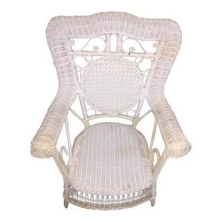 Vintage White Child's Wicker Chair