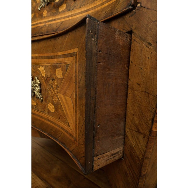 18th Century Inlaid Italian Commode With Bombe Shape and Dutch Marquetry For Sale - Image 4 of 11