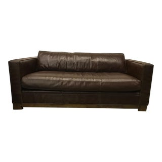 Contemporary Chestnut Brown Leather Sofa For Sale