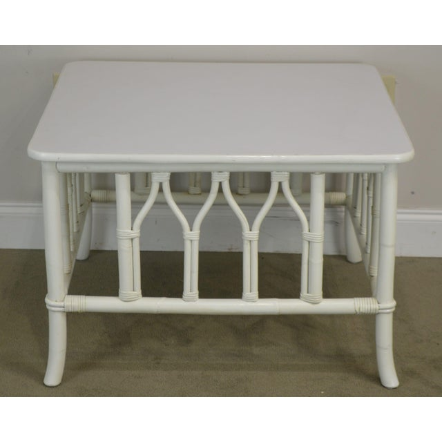 1960s Ficks Reed White Painted Square Rattan Coffee Table For Sale - Image 5 of 13