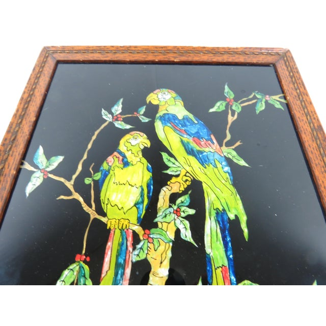 American Antique Americana Folk Art Tinsel Painting of Tropical Birds For Sale - Image 3 of 9