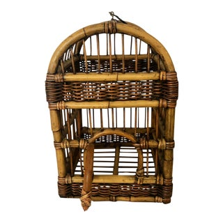 Vintage Mid Century Burnt Bamboo Tropical Rattan and Wicker Birdcage For Sale