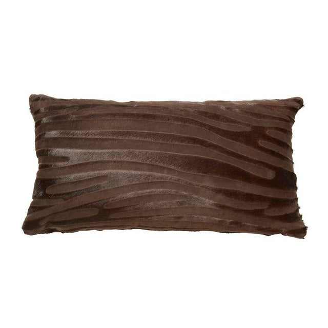 Laser Cut Zebra Print Cowhide Hair Lumbar Pillows *Luxurious high sheen cowhide origin Normandy, France *Chocolate brown...