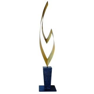 "Brass and Marble Abstract ""Ribbon"" Sculpture by Curtis Jere for Artisan House For Sale"