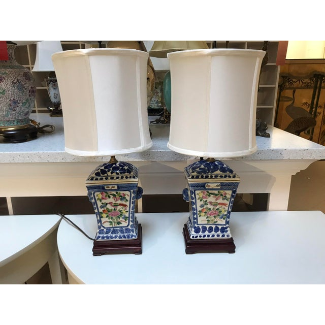 Porcelain Lamps With Silk Shades - a Pair For Sale In Detroit - Image 6 of 6