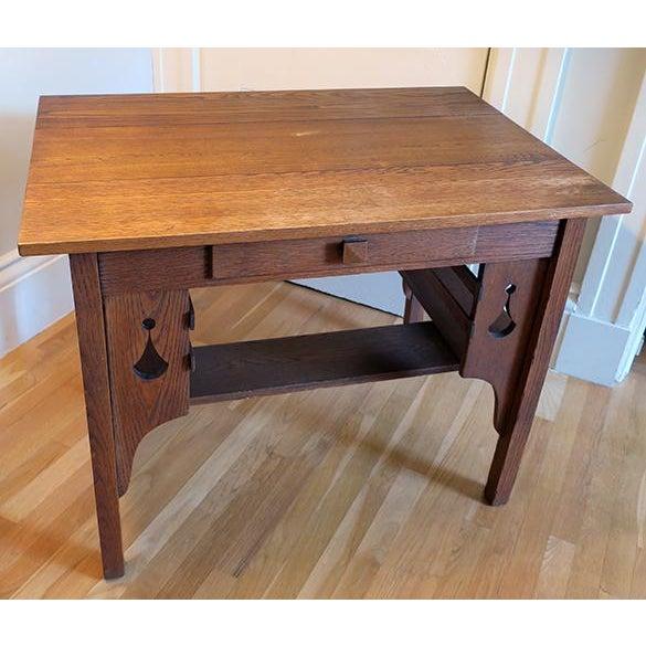 Arts & Crafts Antique Oak Mission Library Desk For Sale - Image 3 ... - Antique Oak Mission Library Desk Chairish