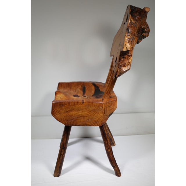 Rustic Early 20th Century Rustic Live Edge Hickory and Buckthorn Side Chair circa 1930s For Sale - Image 3 of 5