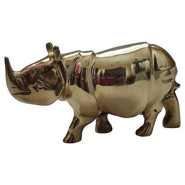 Solid Brass Rhinoceros Figurine - Image 1 of 2