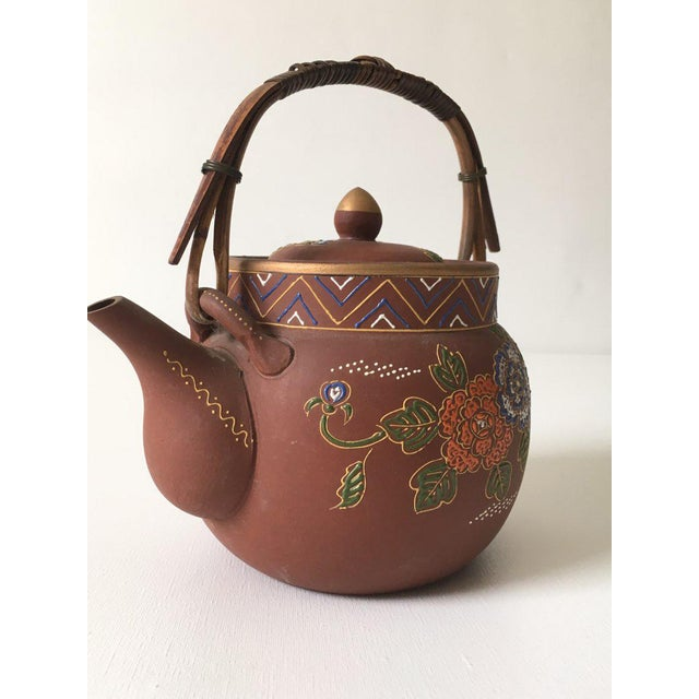 Ceramic Asian Floral Enameled Clay Teapot For Sale - Image 7 of 8