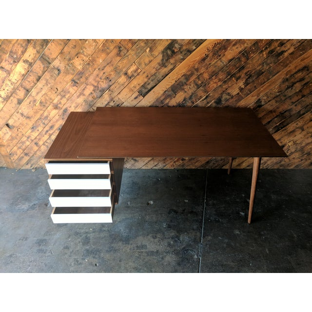 Custom Large Mid Century Style Walnut Desk For Sale - Image 9 of 11