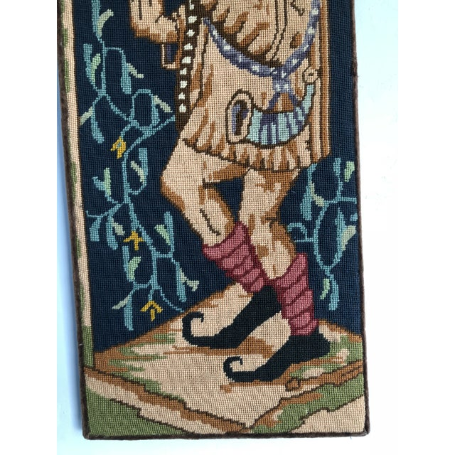 Gothic Medieval Needlepoint Drummer Textile Art For Sale - Image 3 of 7
