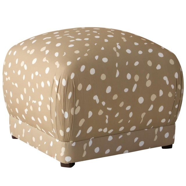 Ottoman in Camel Dot by Angela Chrusciaki Blehm for Chairish For Sale