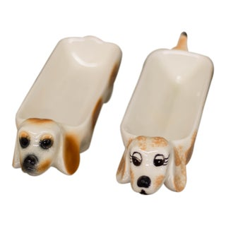 Mid-Century Modern Dachshund Couple Serving Dishes - A Pair