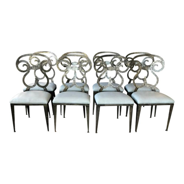 Hammered Steel Dining Chairs - Set of 8 For Sale