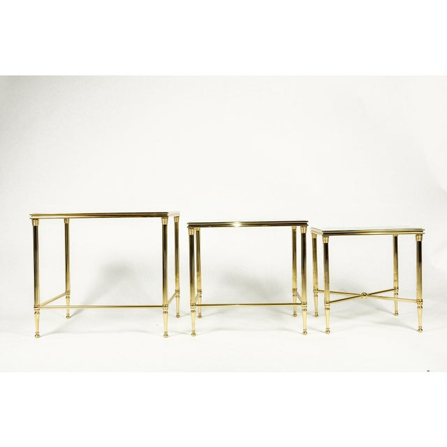 Gold Brass & Glass Nesting Tables - Set of 3 For Sale - Image 8 of 8