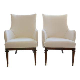 Vintage Mid-Century White Armchairs- A Pair For Sale