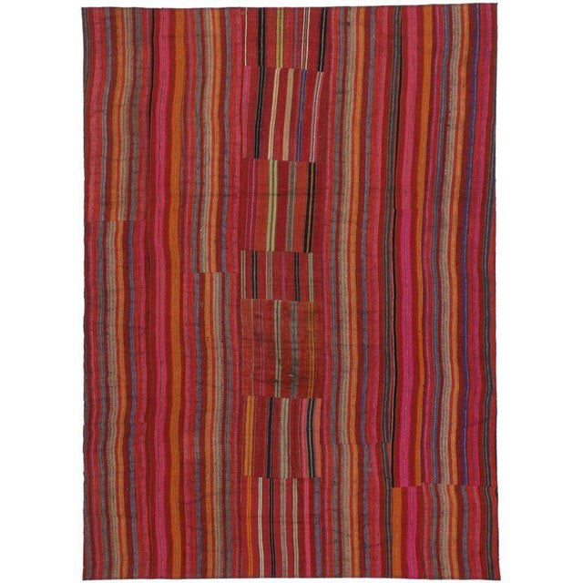 Mid 20th Century Modern Style Vintage Turkish Jajim Kilim Flat-Weave Rug With Colorful Stripes - 5′5″ × 7′6″ For Sale - Image 5 of 6