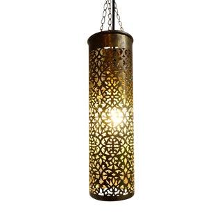 Vintage Brass Pendant Cylinder Lantern For Sale