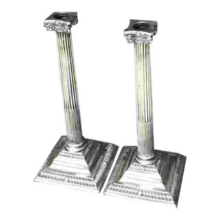 18th C. British Sterling Silver Candlesticks For Sale