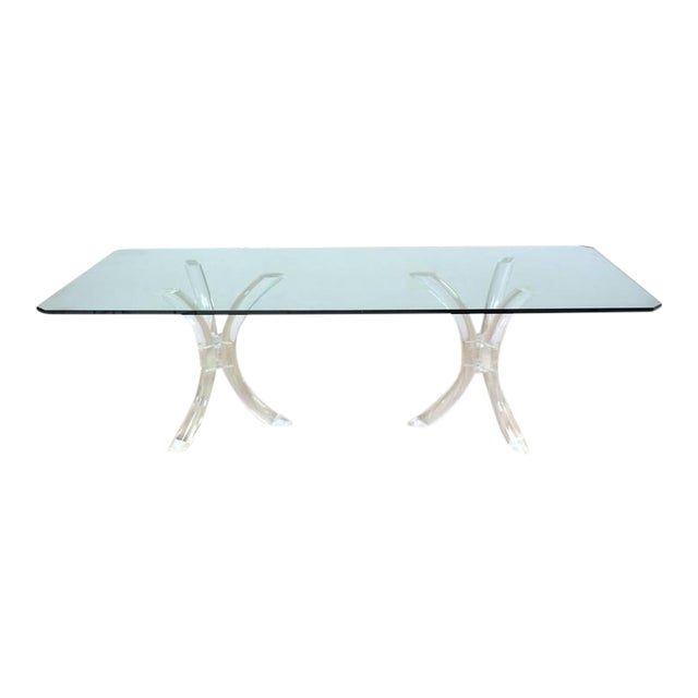 Large Glass Top Conference Table on Lucite Tusks Bases For Sale
