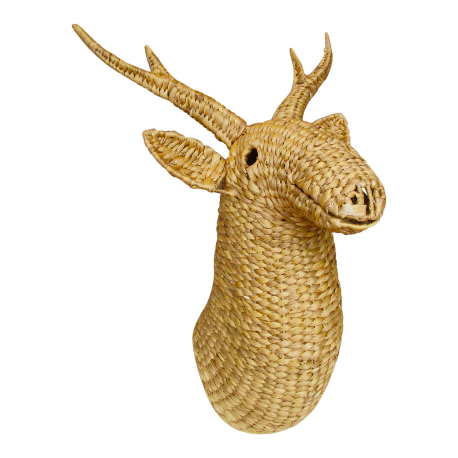 Vintage Rattan Wicker Sculptural Wall Object Abstract Deer Moose ...