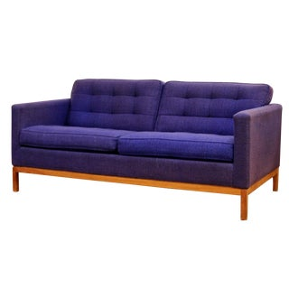 Mid Century Modern Florence Knoll Tufted Blue Loveseat Sofa Wood Base 1950s