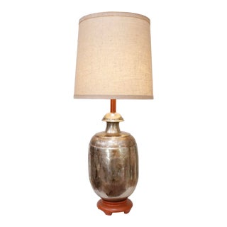 Monumental Asian Brass Table Lamp For Sale