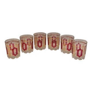 Mid Century Italian DeValbor Red & Gold Weighed Cocktail Glasses - Set of 6 For Sale